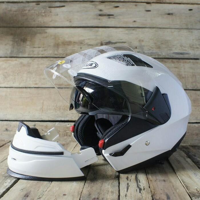 Helm Zeus ZS-611C White Full Face/ Half Face