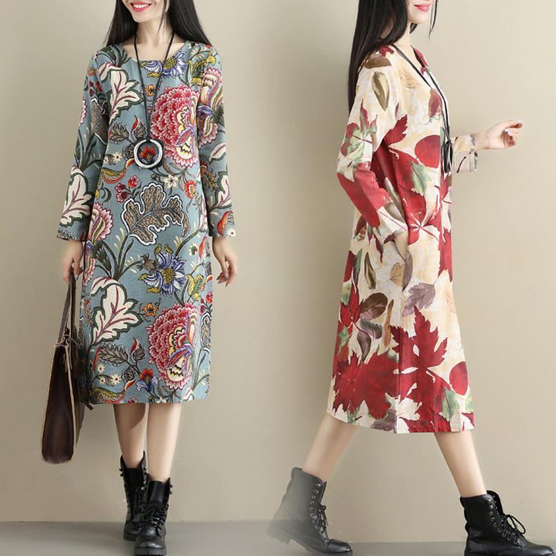 2017 busana musim gugur model baru baju wanita Sastra bersablon kain linen Lengan panjang ukuran besar ...