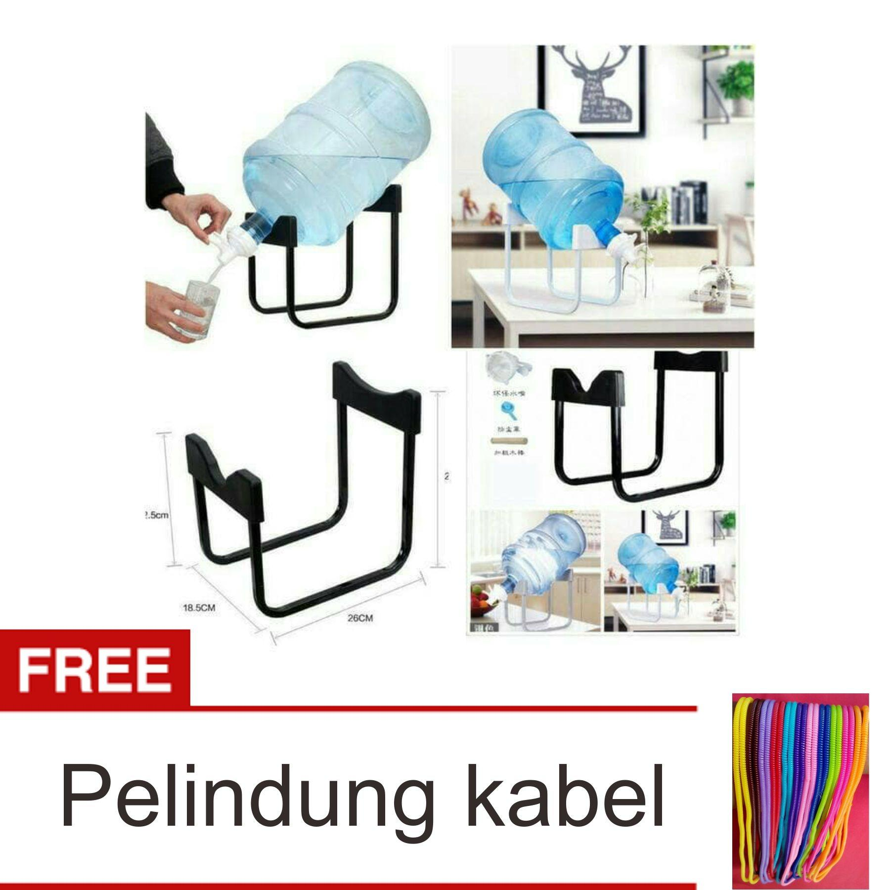 Lanjarjaya Rak Galon Tatakan Galon + Kran Air Galon / Dispenser Air Galon / Dispenser Minuman / Tatakan Aqua / Rak Besi Warna Random + Pelindung Kabel