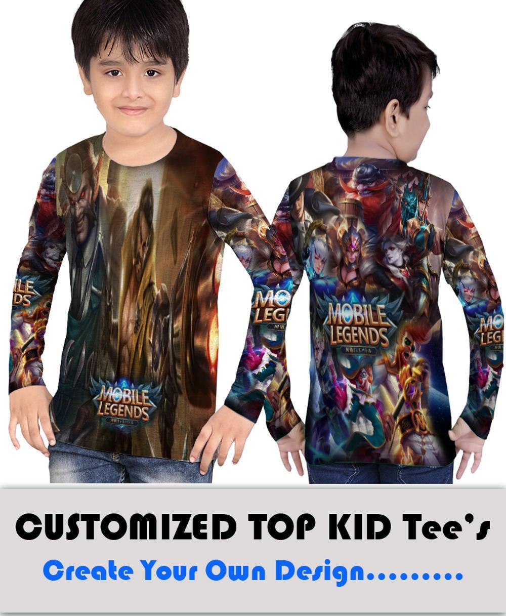 Kaos T-Shirt Anak Lengan Panjang Sublimation Custom Mobile Legend Character Roger
