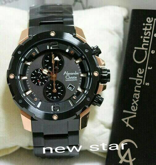 JAM TANGAN PRIA ALEXANDER CHRISTIE AC 6410 BLACK ROSE GOLD ORIGINAL