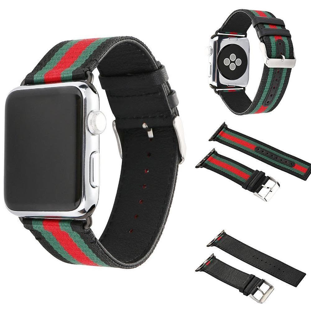 Fitur Tali Jam Apple Watch Black Gucci Nylon Woven Canvas Strap Band