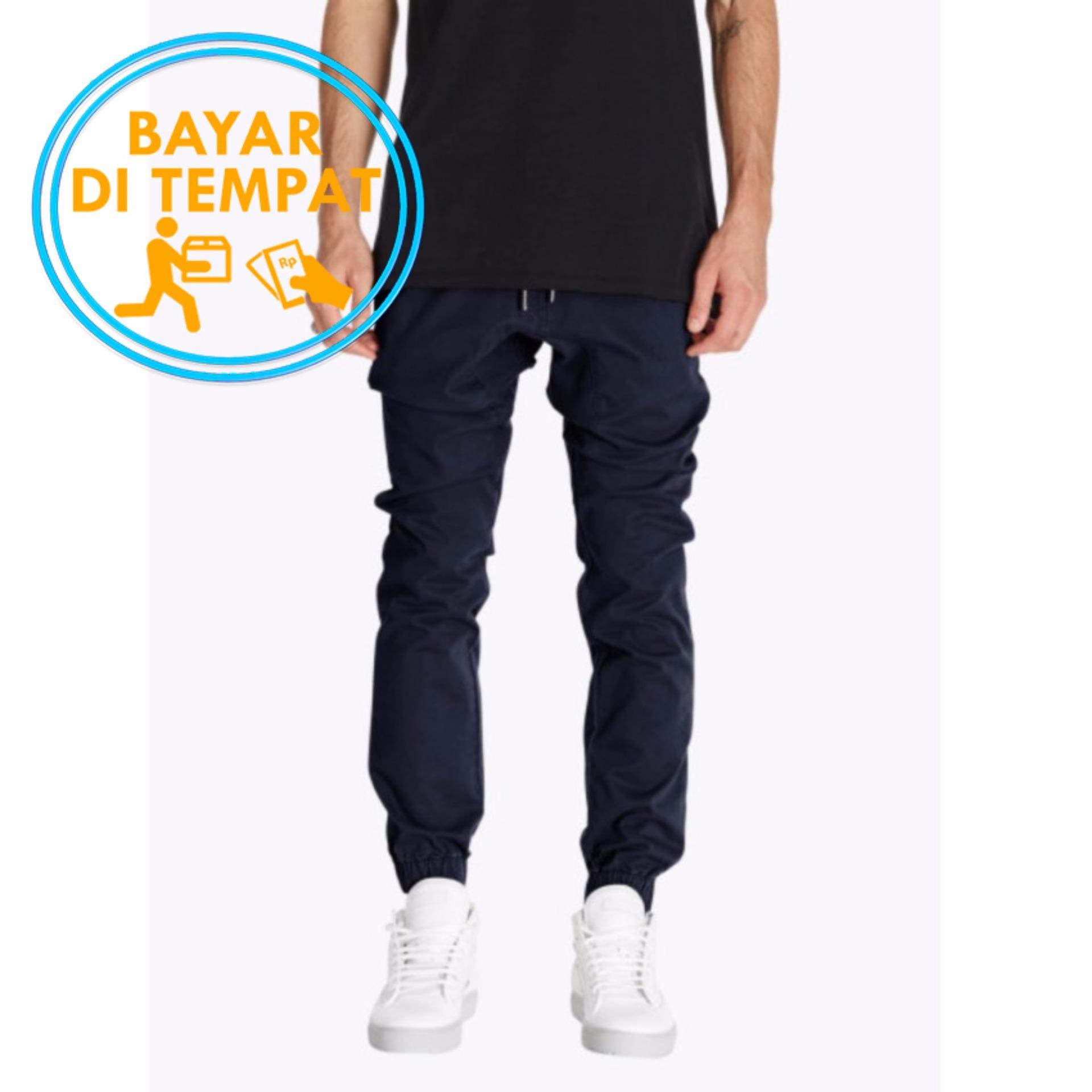 Celana Murah Pria Jogger Pants Navy Biru Dongker Original
