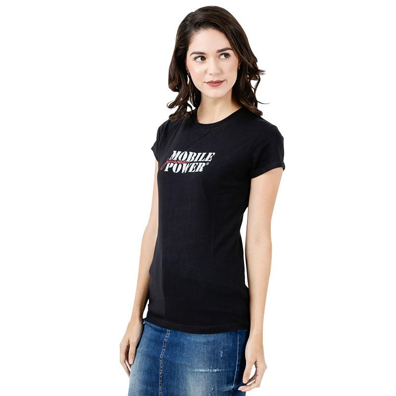 T-shirt Mobile Power Text Screen Printing Black Mobile Power Ladies - TS027