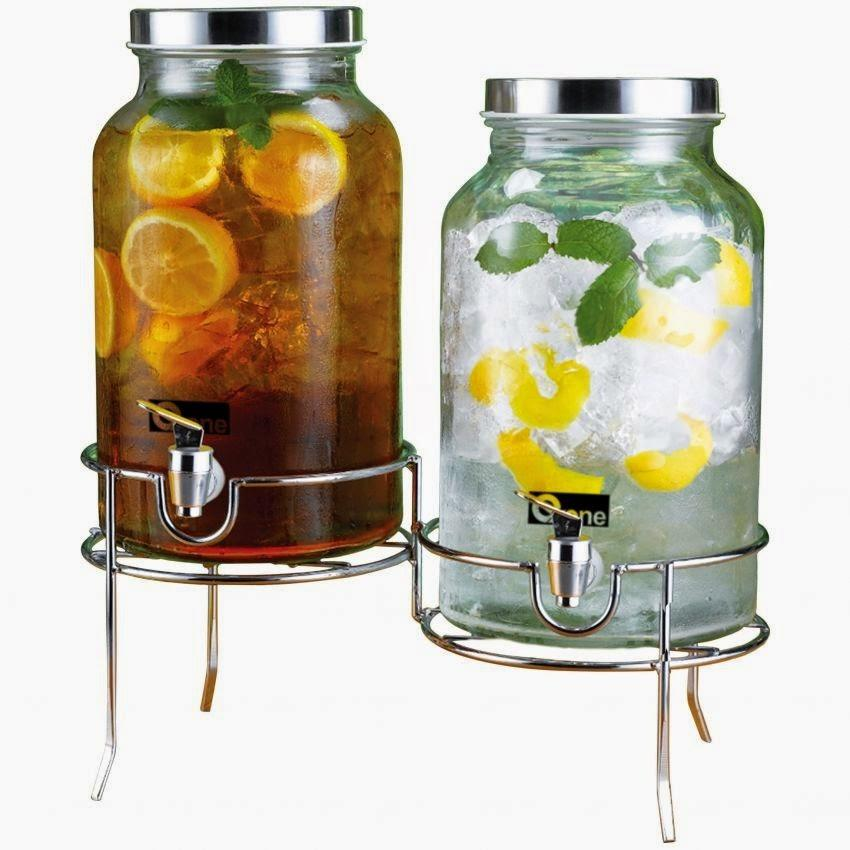 Oxone Double Decanter Juice Jar with Rack OX-335
