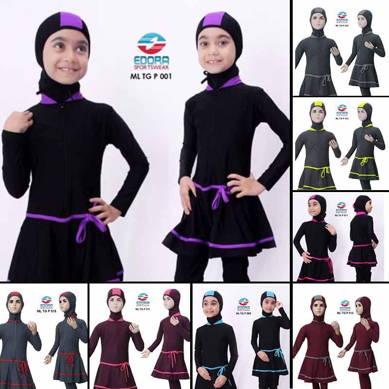 Promo Baju Renang Anak Perempuan SD  Muslimah dengan Jilbab/HIjab Merek  Edora Murah Berkualitas