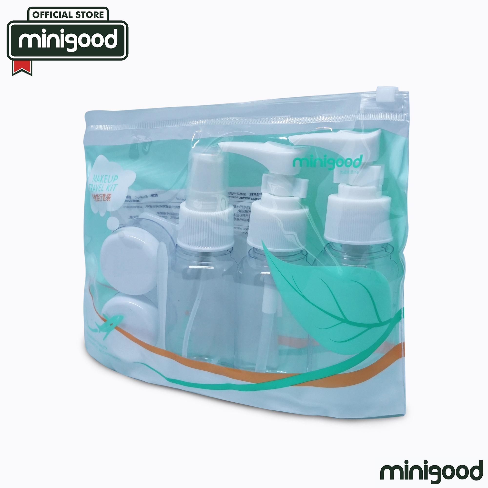 minigood TERBARU travel bottle set 3 botol tekan semprot 2 wadah krim sisir cermin tas kemasan