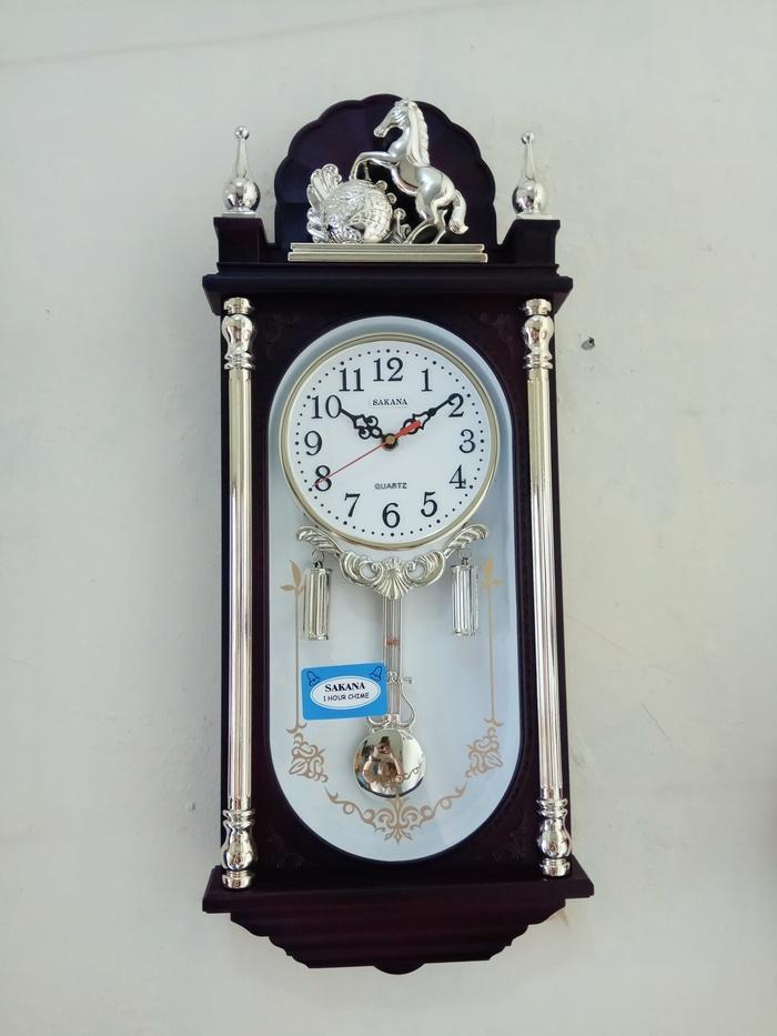 Jam Dinding Bandul SAKANA 329 patung kuda mesin tidak brisik   jam dinding . d39e77b183