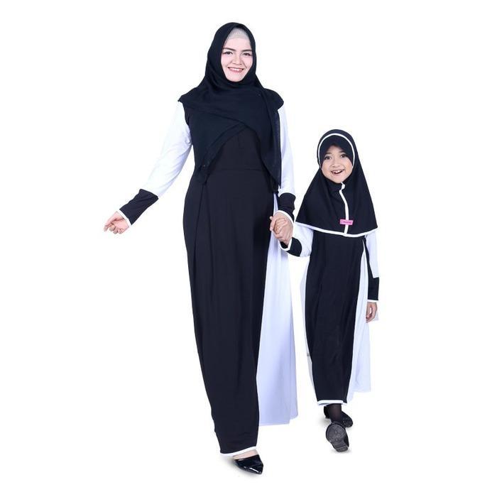 Baju Muslim Couple Ibu Anak Gamis Jersey - Hitam CMJBK02