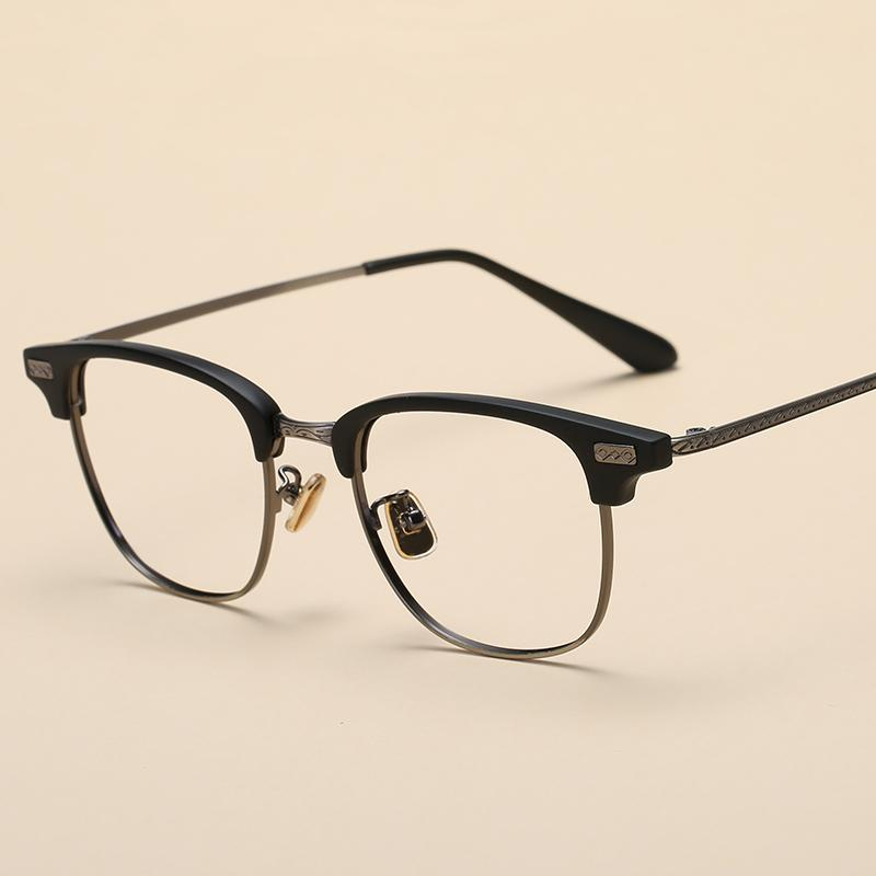 TR90 bingkai kacamata Pria dan wanita wajah persegi Retro kacamata minus Gaya  Korea pasang Kotak Setengah 5556909134