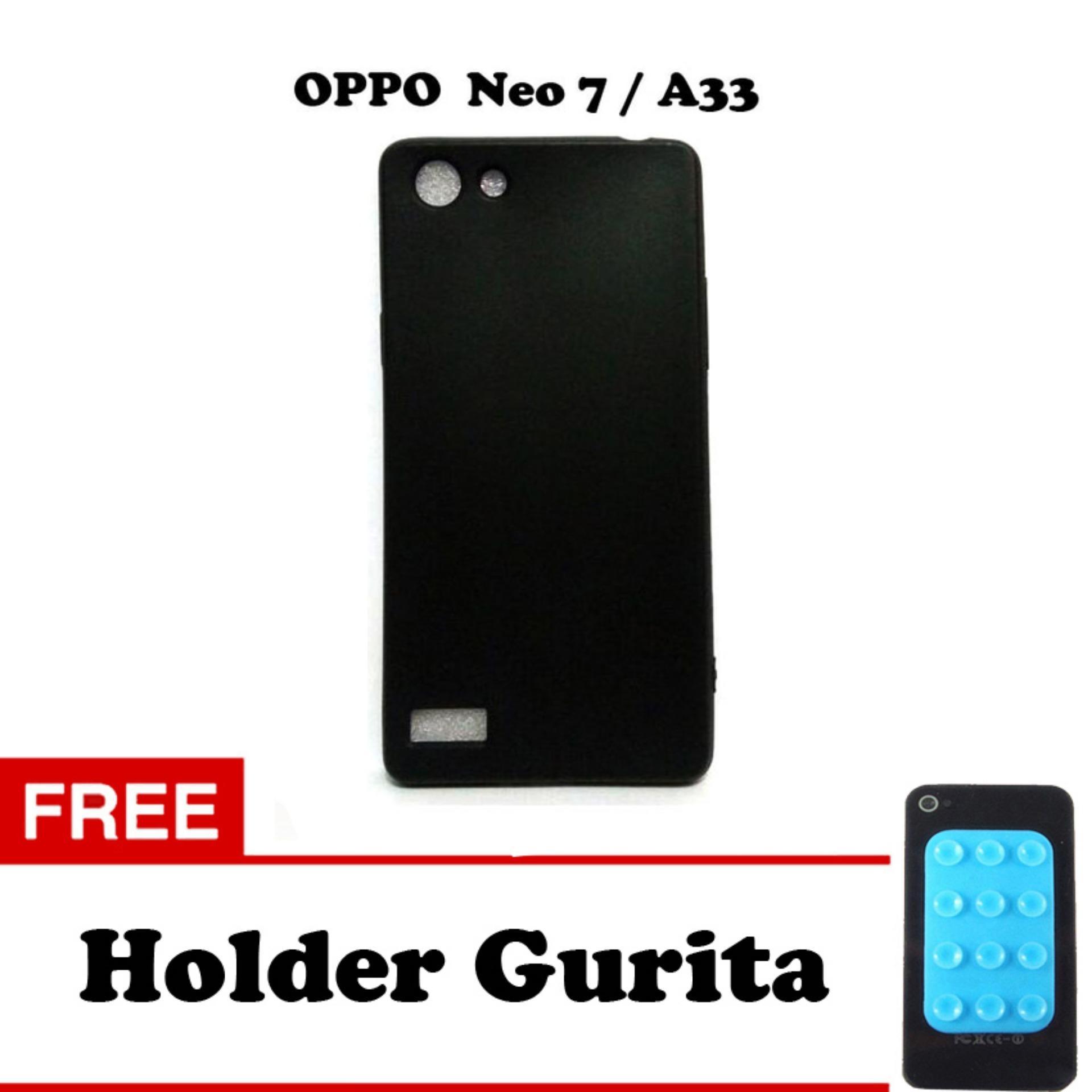Case Slim Black Matte Oppo Neo 7 / A33 Softcase Baby Skin + Free Holder Gurita