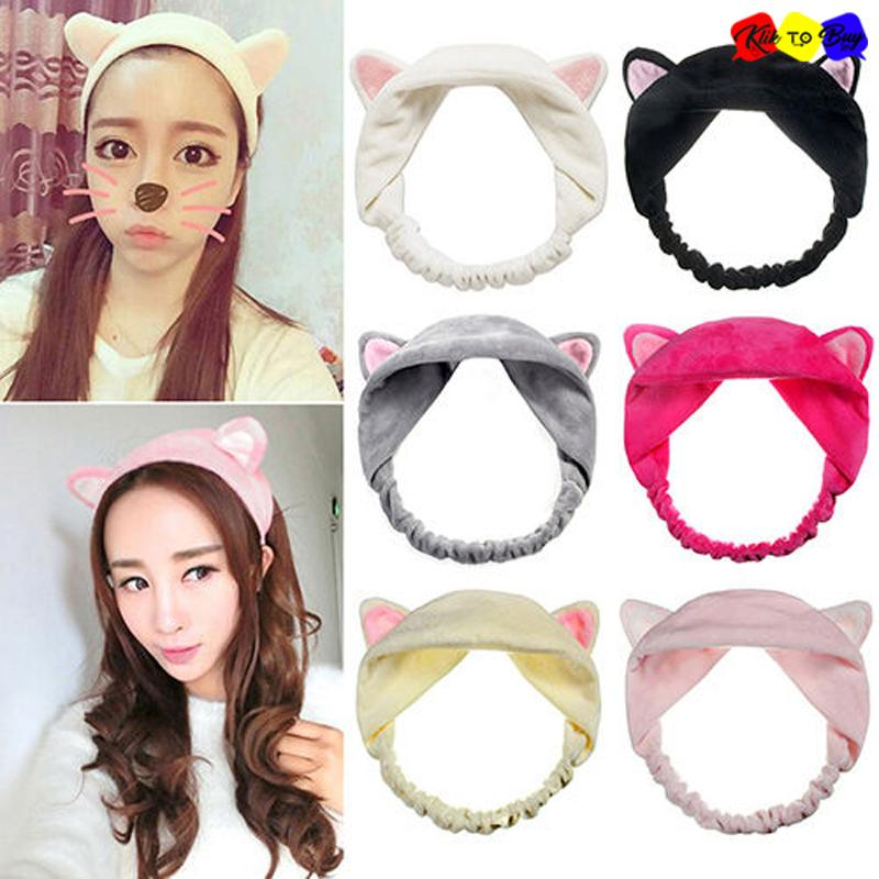 ... Bando Korea Kucing MakeUp Klik To Buy / Wanita Cewek Imut Rambut Bando Telinga Kucing Cawan ...