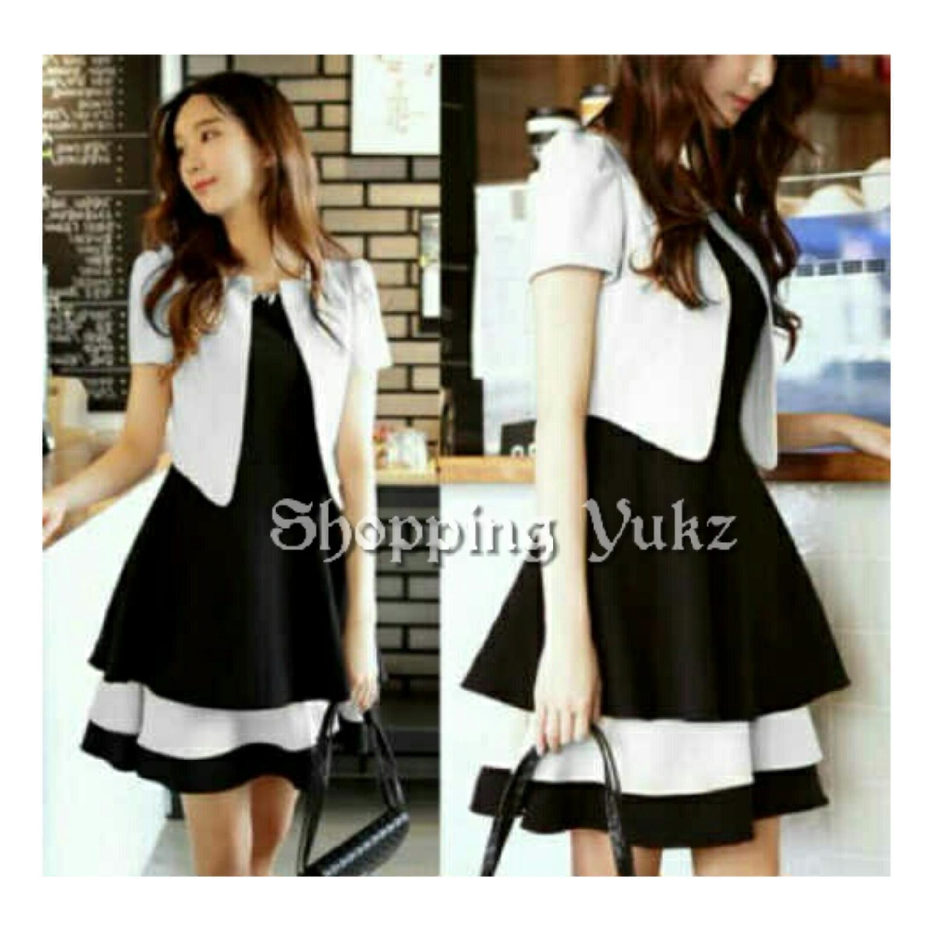 Shopping Yukz Setelan Midi Dress Wanita YOLLA / Setelan Dress / Gaun Cewek / Midi Dress