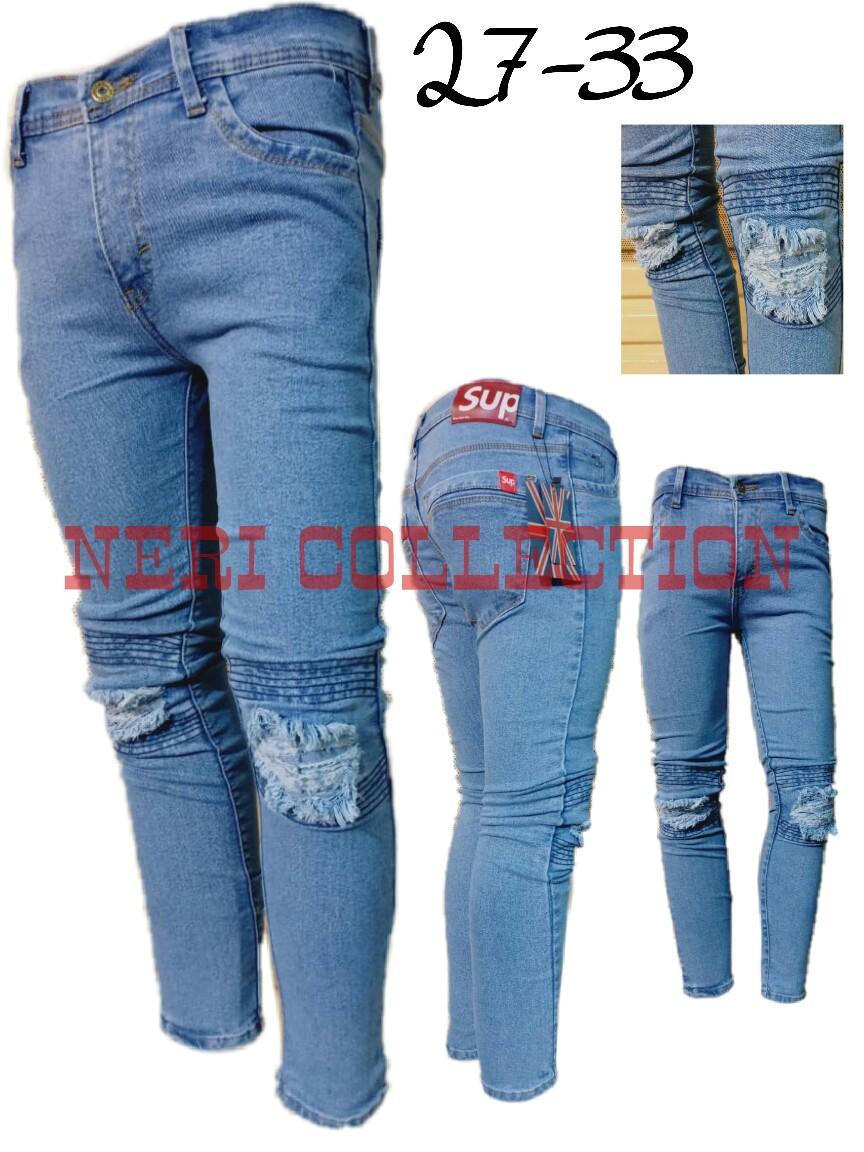 Neri collection celana jeans pria sobek lapisan skiny
