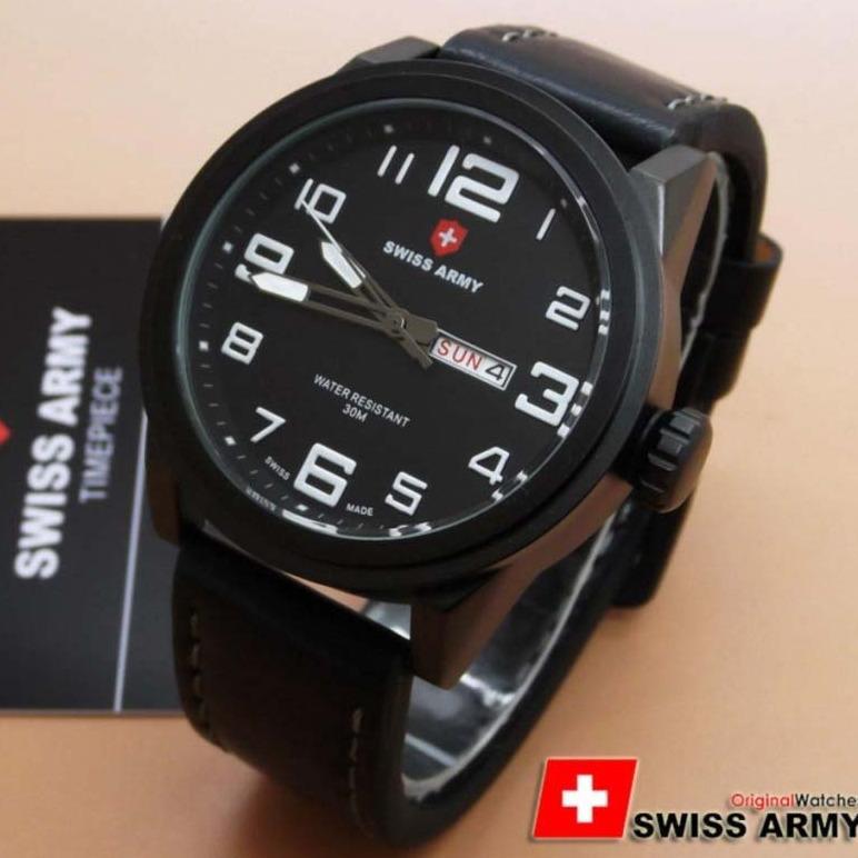 Swiss Army Original - Jam Tangan Pria & Wanita SA 1356 JA - Hari Tanggal Aktif - Bahan Tali Kulit - Model Kasual