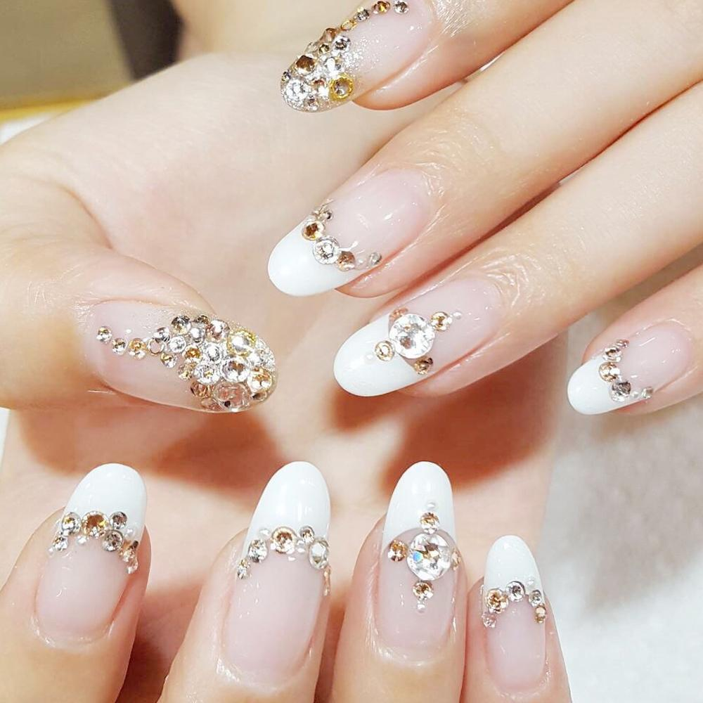 Anneui - NA0007 - 5 Sizes Clear White Acrylic Nail Art Decoration Glitter .