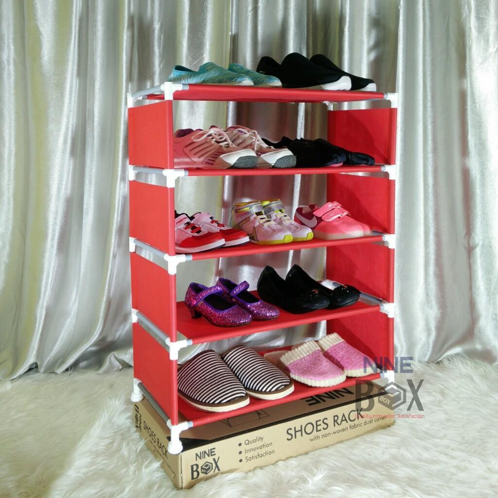Rak Sepatu 5 SUSUN/Rak Sepatu Minimalis/Rak Portable NINE BOX Serbaguna Type W5