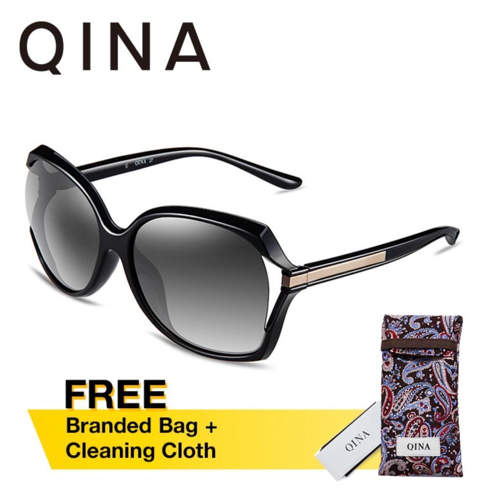 Dapatkan Segera Qina Kacamata Polarized Wanita Hitam Oversize Lensa Abu Abu Proteksi Uv 400 Qn3516