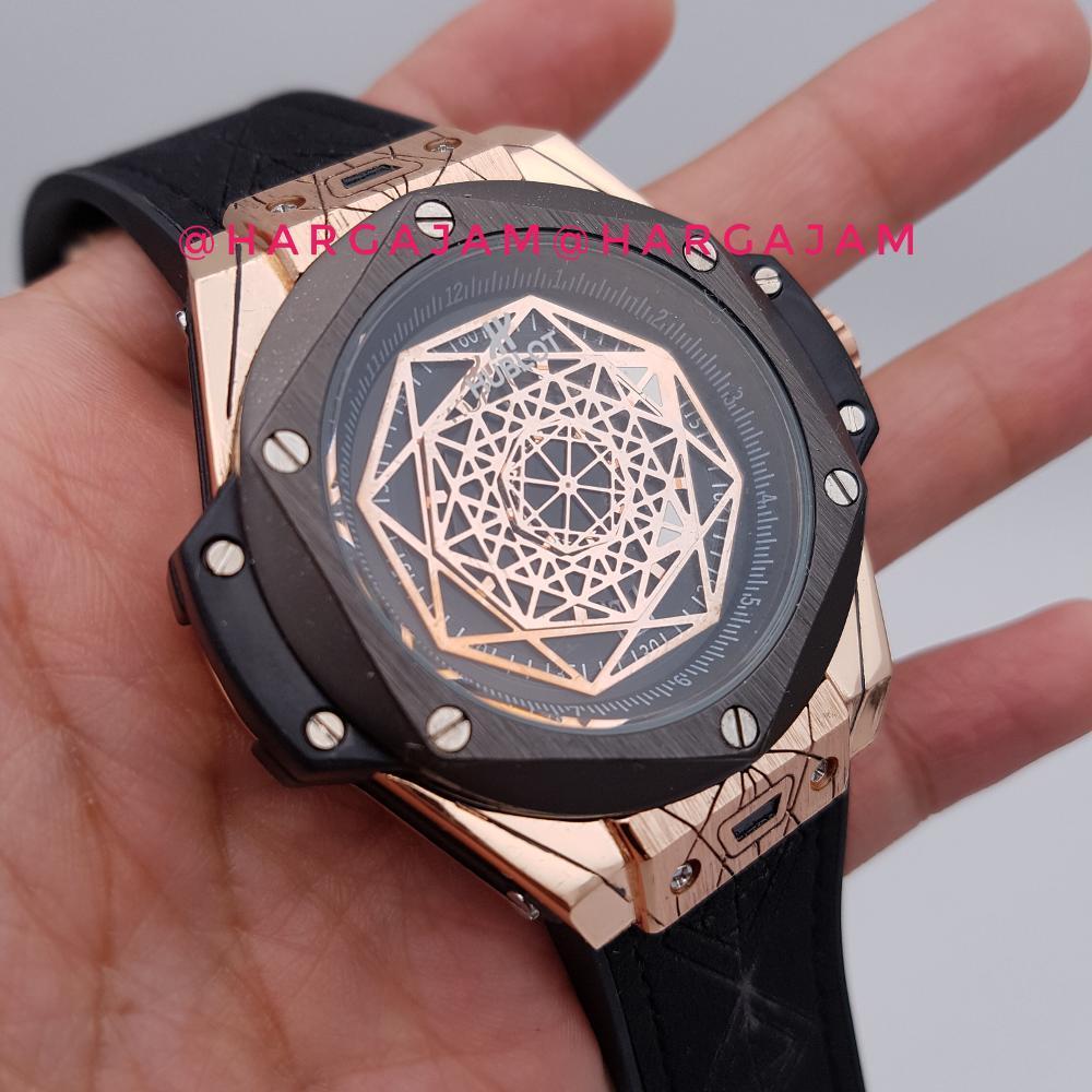 Jam Tangan Pria Hublot Black Gold Leather Strap Hitam