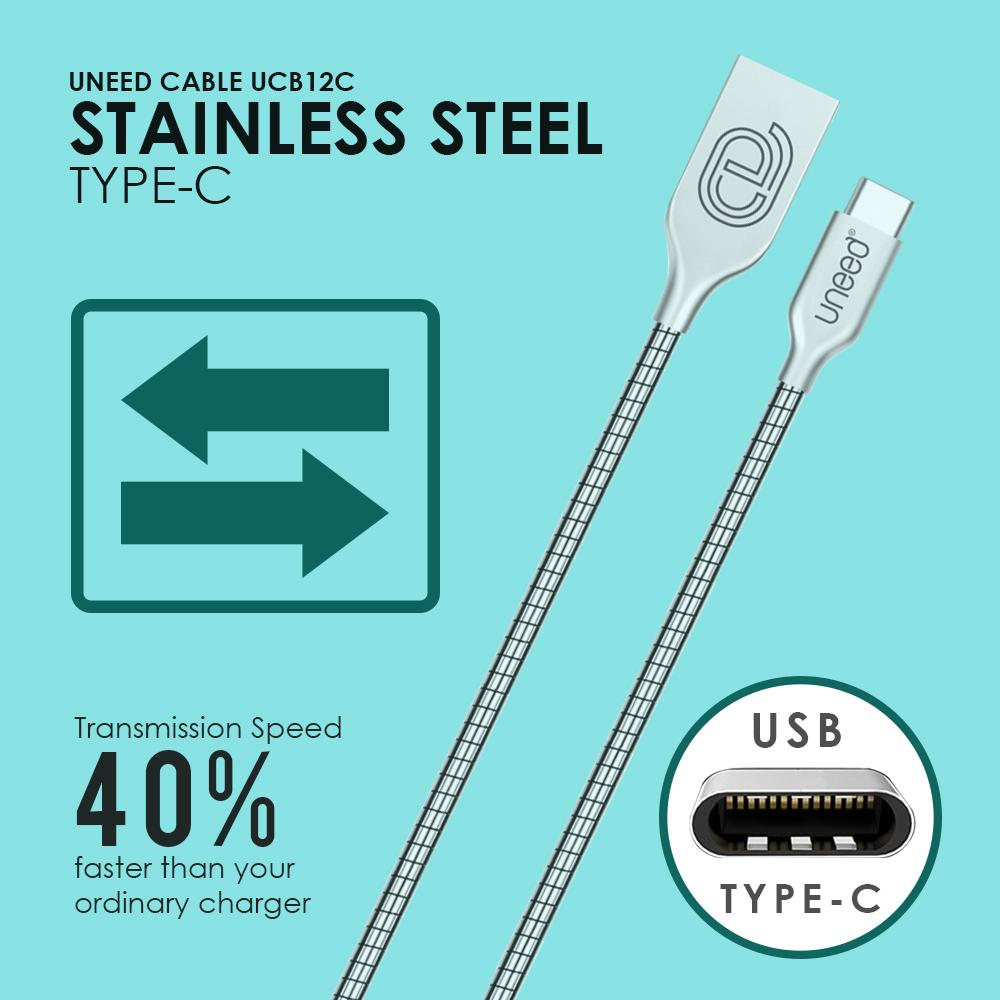 Kelebihan Uneed Stainless Kabel Data Type C Quick Charge Fast Bolt Charging 5a Usb 30 Silver 21a Original 3