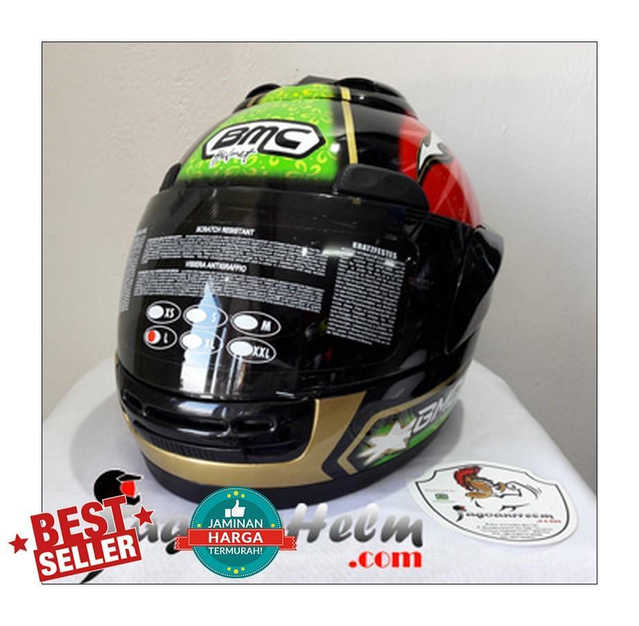 BMC Helm Jazz #13 | Black Green Red | Fullface Murah - 2 ...