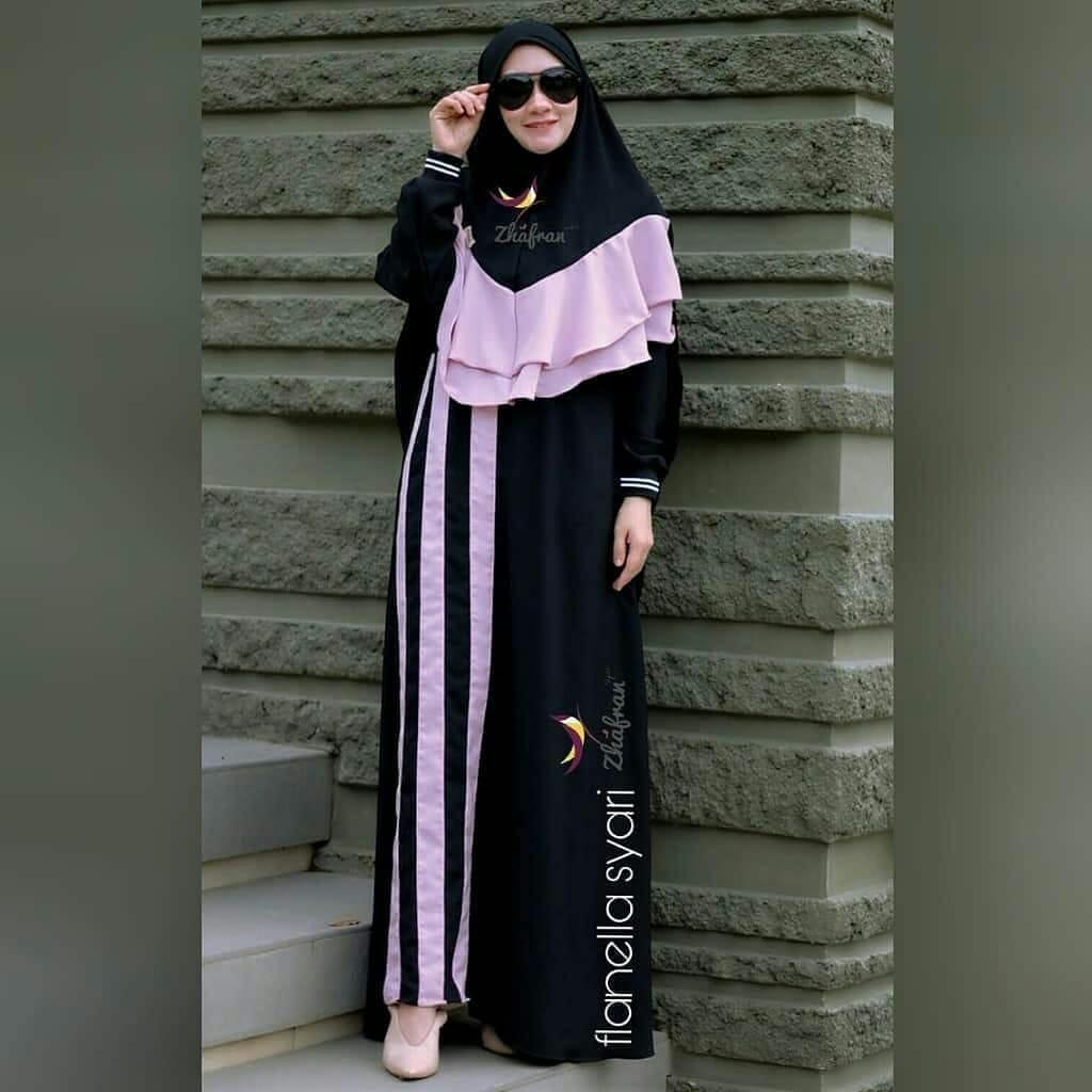 Baju Muslim Modern Gamis Flanela Syar i Dress Baju Wolfice Baju Terusan  Wanita Gamis Casual aaeedec0b2