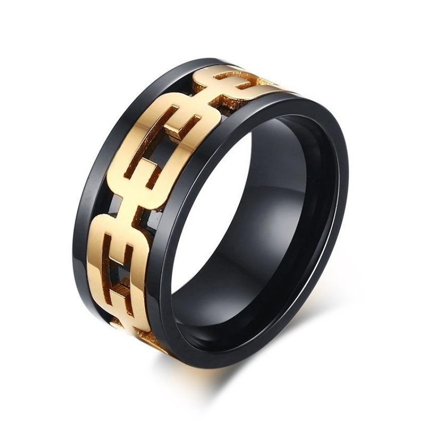 Keren ROCK Pria Cincin 18 K Gold Berlapis Rantai Pola Warna Hitam Bawah Anti Karat 9