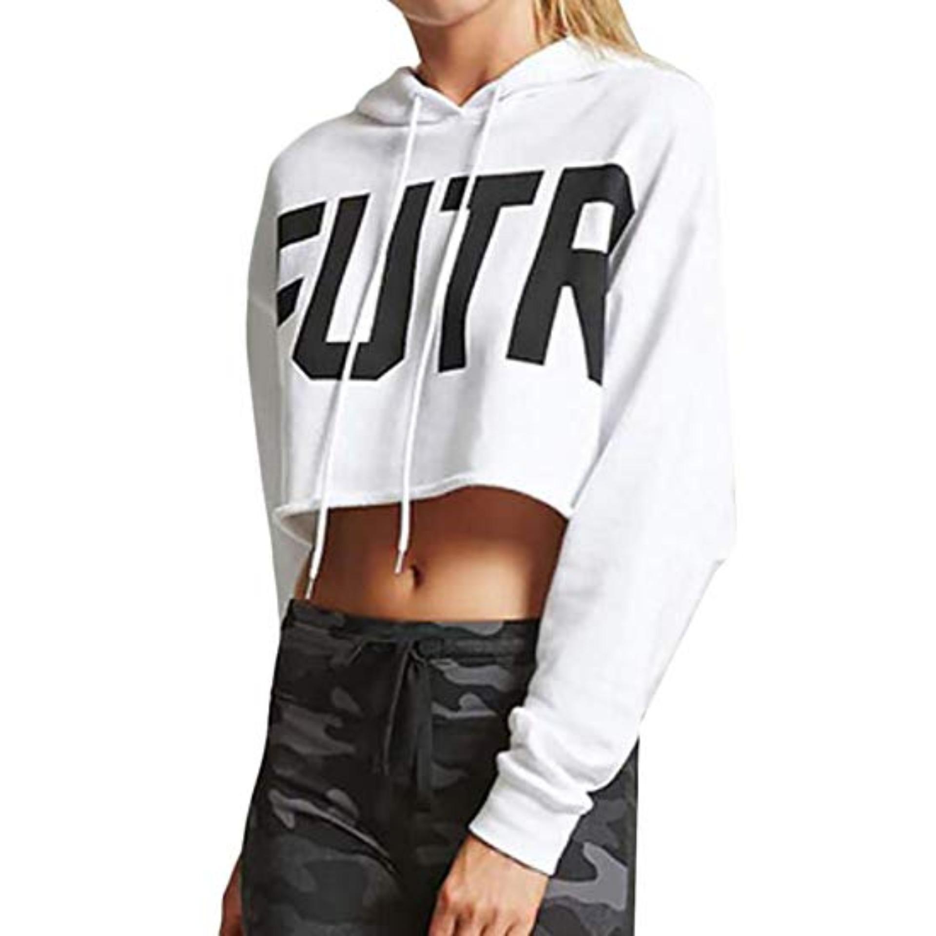 ... MichelleStore Sweater Wanita Crop Hoodie Tali Motif F U T R - Putih - 4
