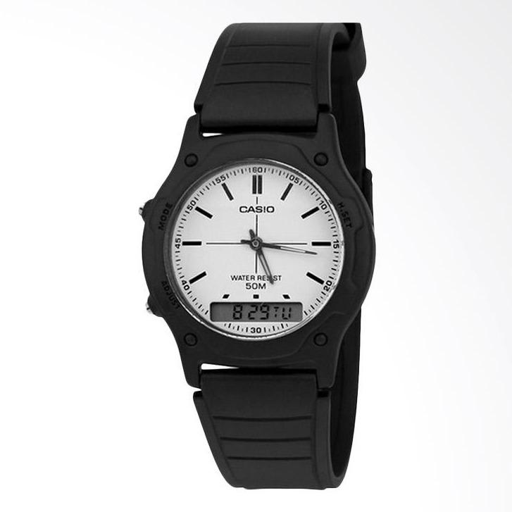 CASIO AW-49H-7EVDF - Youth Series - Analog-Digital - Dual Time - Stopwatch - Jam Tangan Pria - Bahan Tali Resin - Hitam - White Dial