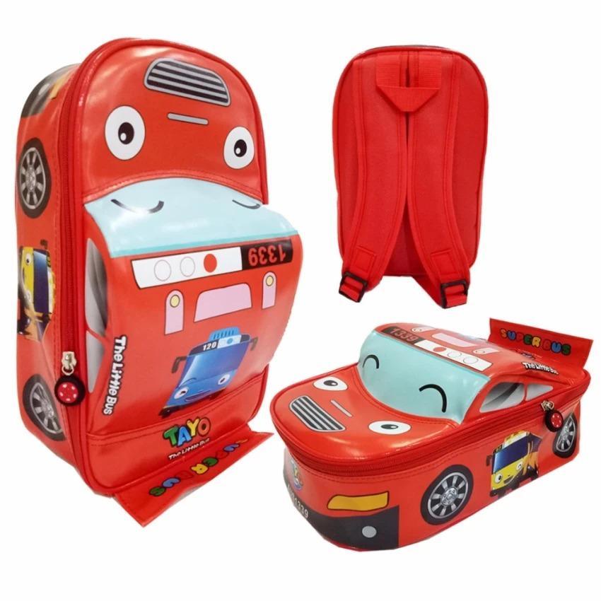 Promo Toko Tas Anak Sekolah Paut Motif Bus Tayo Bahan Sponge Tahan Air Bentuk Mobil Unik 30X20X12Cm
