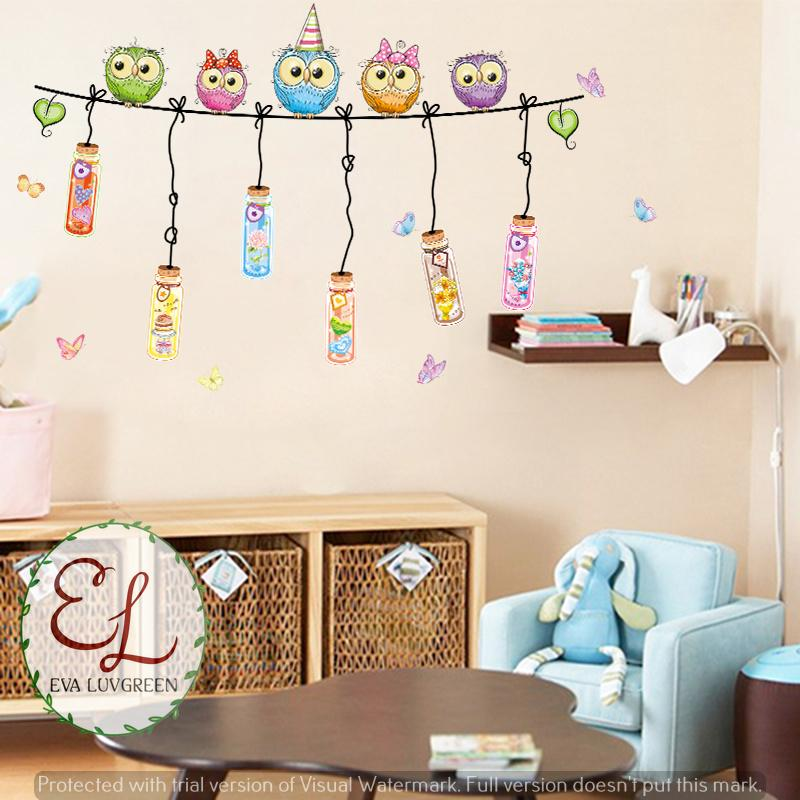 ... Eva Luvgreen Wallsticker Owl Botol Party Ukuran 60x90cm/ Stiker Dinding/ Stiker Tembok/ Wallpaper ...
