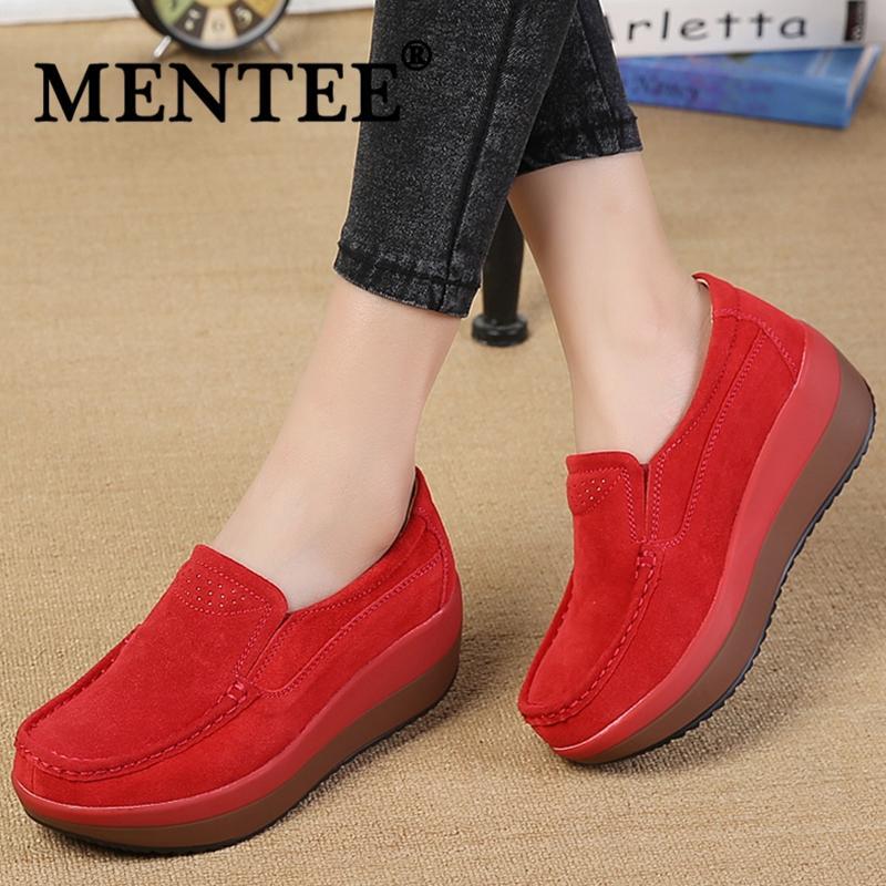 MENTEE Ukuran Besar 35-42 Wanita Wedges Sepatu Goyang Tinggi Meningkatkan Sepatu Fashion Kasual Sepatu