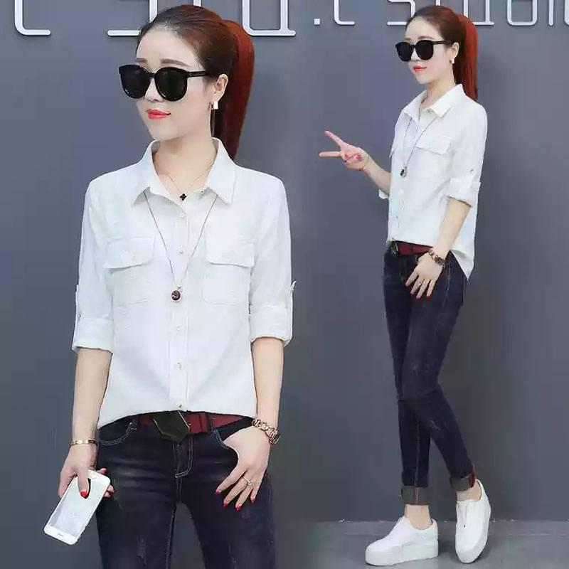 AG Apparel Kemeja Amelia Putih / Kemeja Fashion / Baju Wanita / Blouse Korea / Atasan