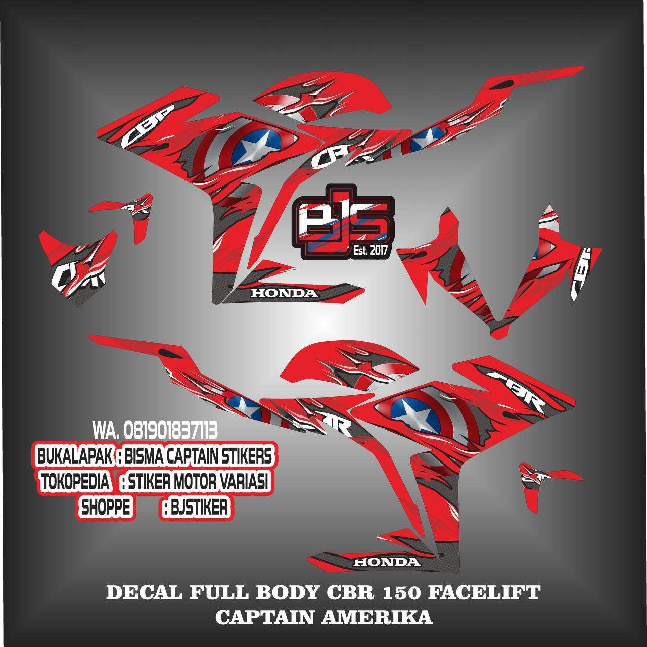 Detail Gambar stiker striping list decal full body cbr new facelift 150 captain amerika Terbaru