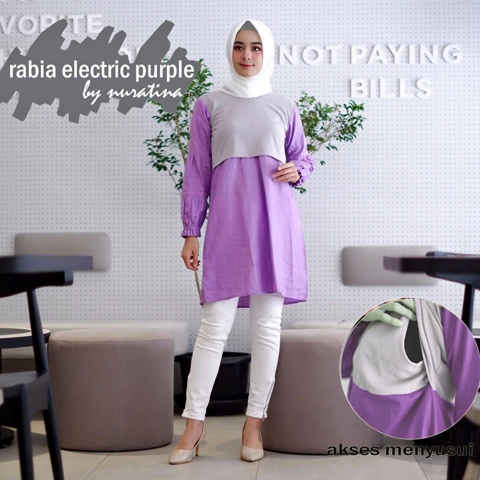 Rabia Purple Ungu Electric Baju Menyusui Busui Friendl Atasan Blouse Dress  Tunik Muslim Casual Kerja e0b1e47880