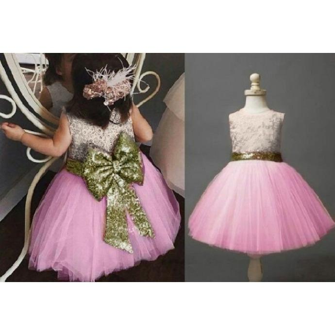 MJ Dress Anak Liva Kids Manik - Pink Muda