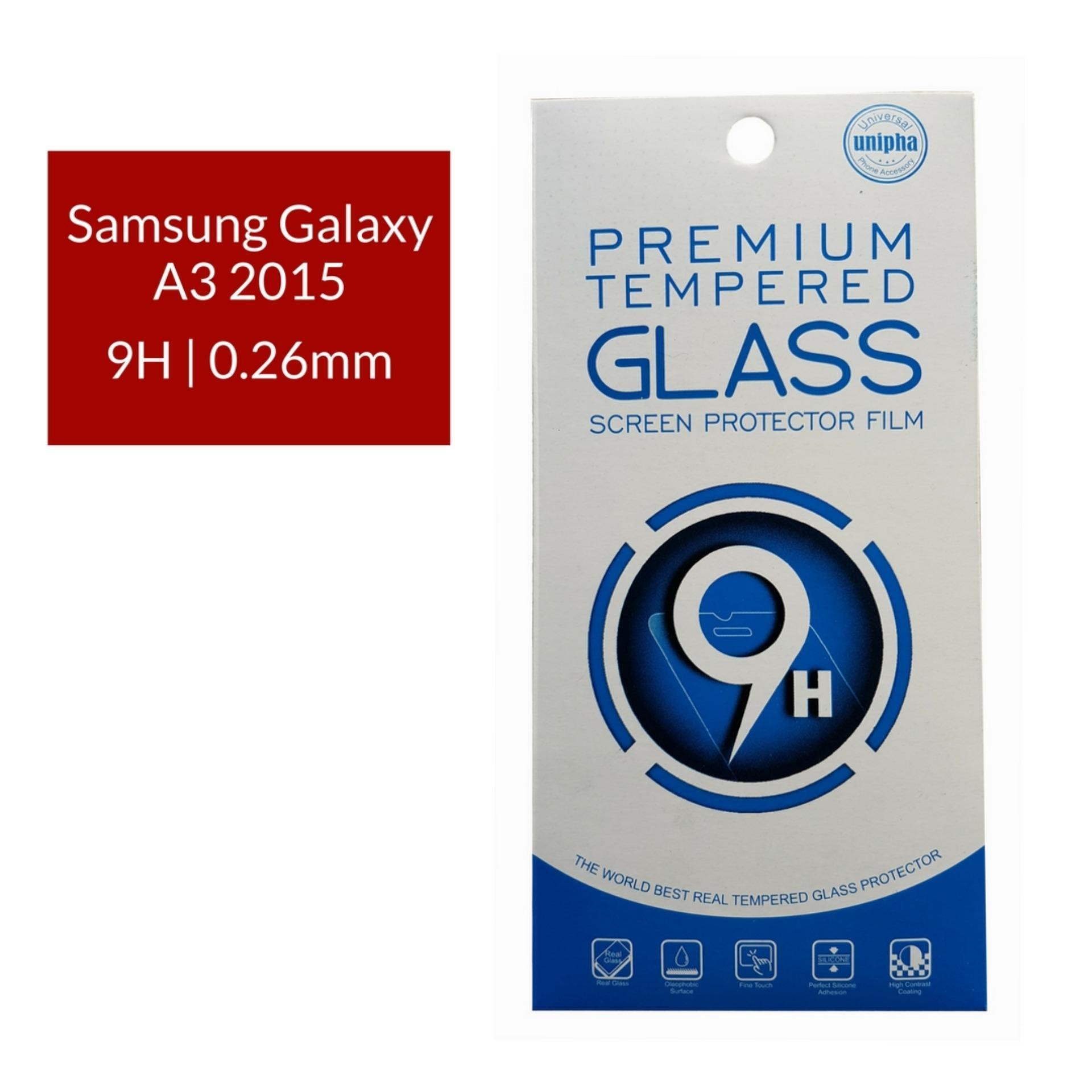 Unipha Premium Tempered Glass Screen Protector / Anti Gores Kaca Samsung Galaxy A3 2015 - Bening