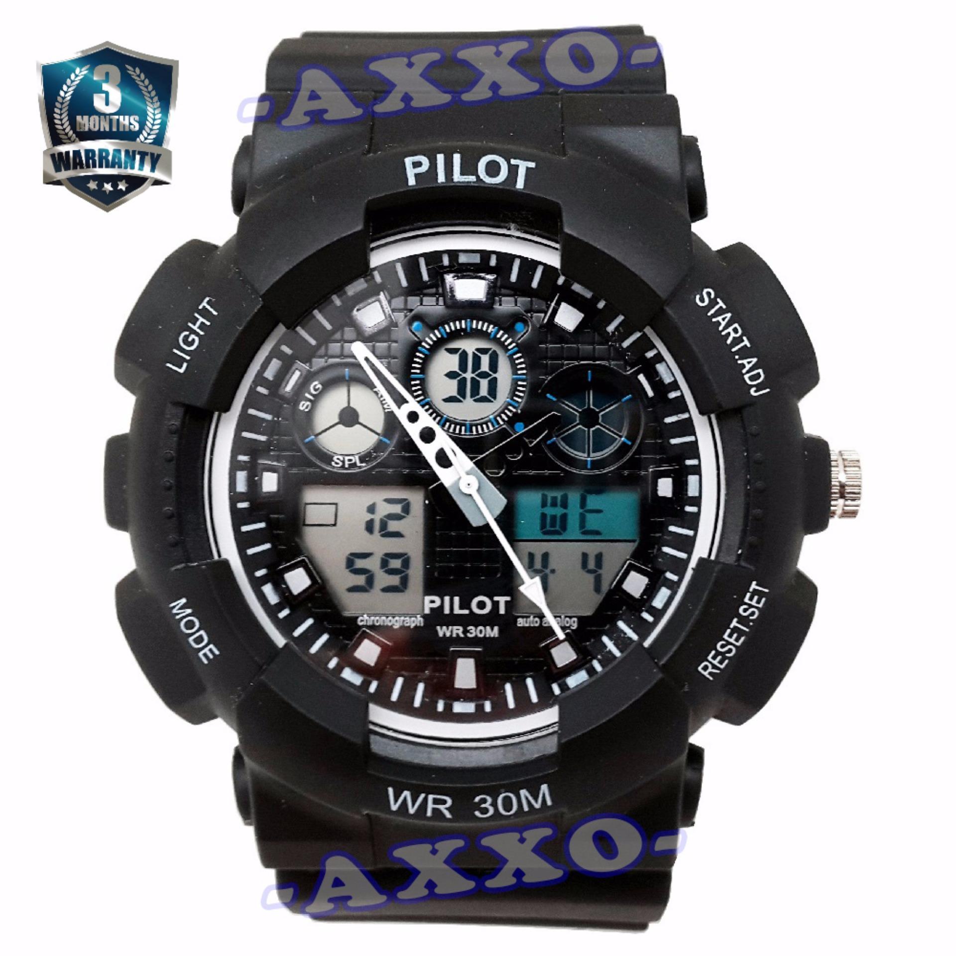 Beli Pilot Waterproof Digital Sport Jam Tangan Pria Strap Karet Hitam Putih Plt 1145 Online Murah