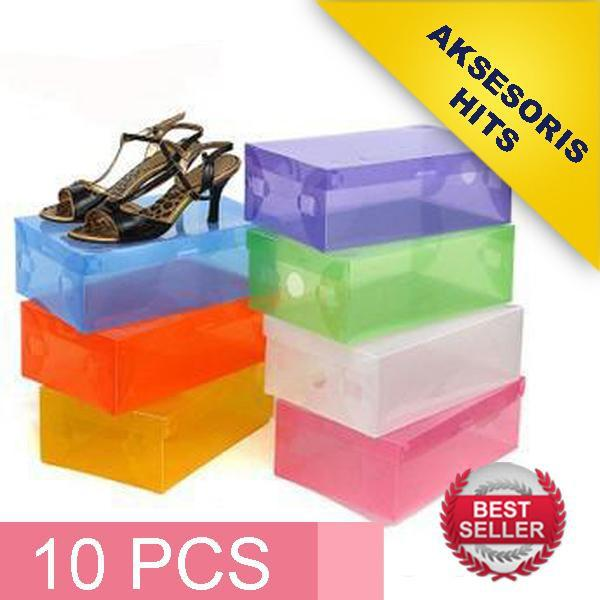 [PROMO 10 PCS] Transparant Shoes Box - Kotak Sepatu Transparan Warna-W
