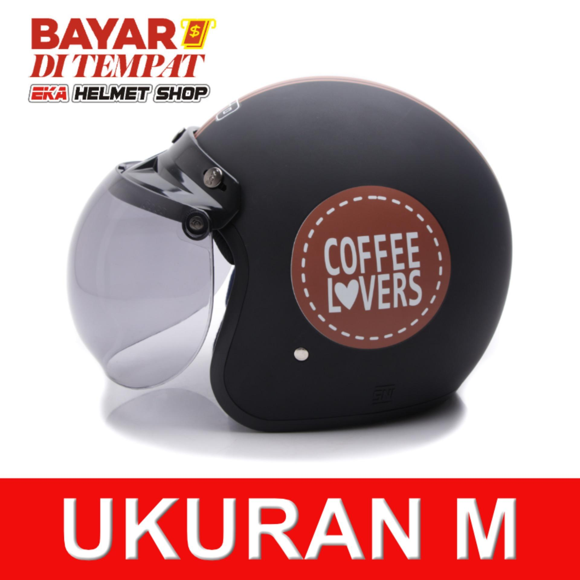 Wto Helmet Retro Bogo Coffee Lovers Hitam Cokelat Doff Banten Diskon