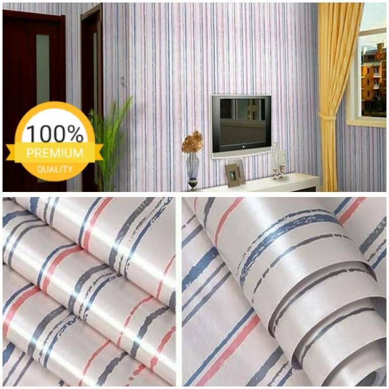 Grosir murah wallpaper sticker dinding kamar ruang indah garis biru merah abu abu