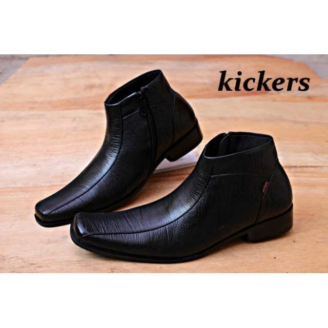 Sepatu kickers pantofel Pria sleting kulit asli jenis serat kayu terbaru
