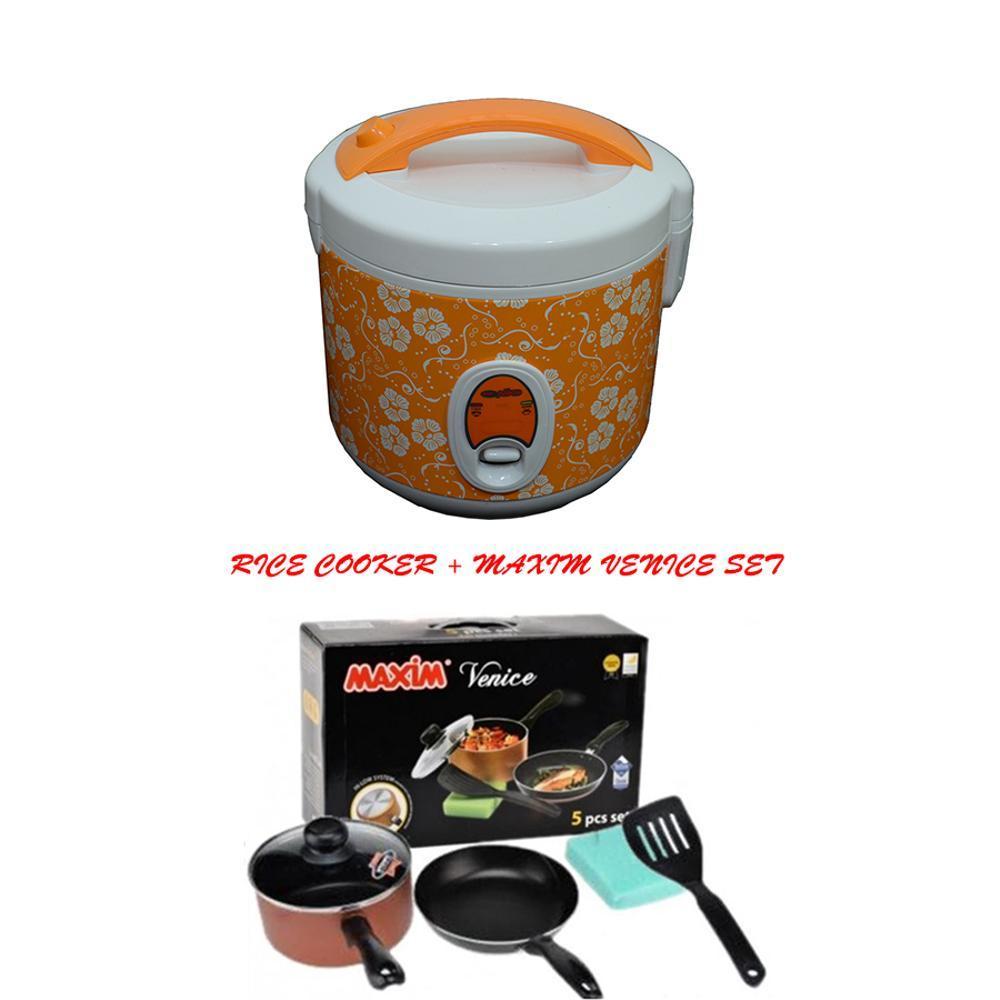 Niko RC 12 Rice Cooker 2IN1 Dengan Maxim Venice Set Isi 5 Pcs Paket Murah & Ekonomis
