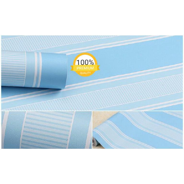 Gambar Produk Rinci Grosir murah wallpaper sticker dinding kamar ruang indah garis biru putih Terkini