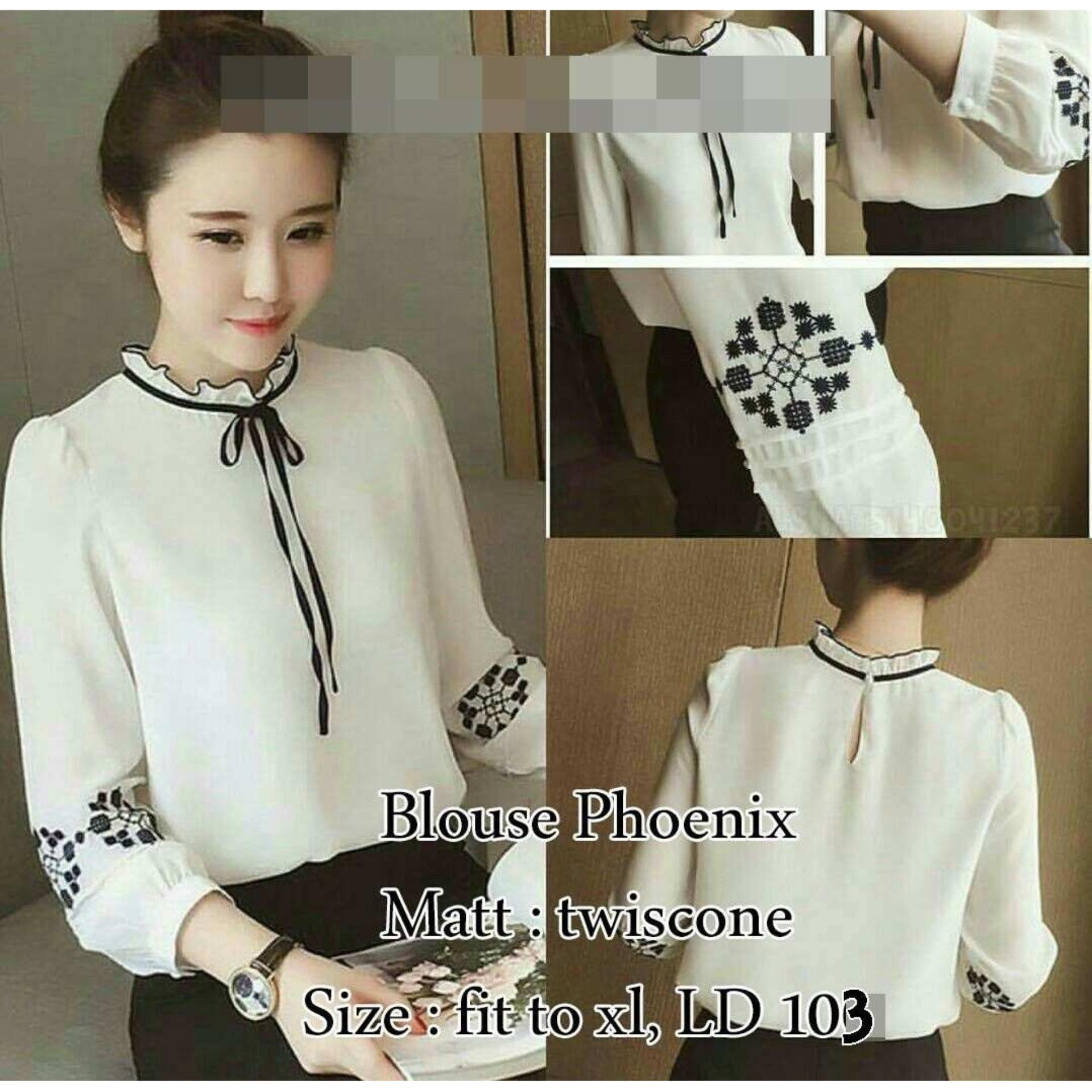 Blouse Phonix Black / Tunik Wanita Kaos Wanita Baju Wanita Atasan Wanita Blouse Wanita Dress Wanita