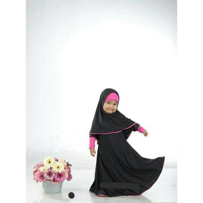 Baju Muslim Gamis Anak Perempuan Rahadian Kids warna Hitam+fanta