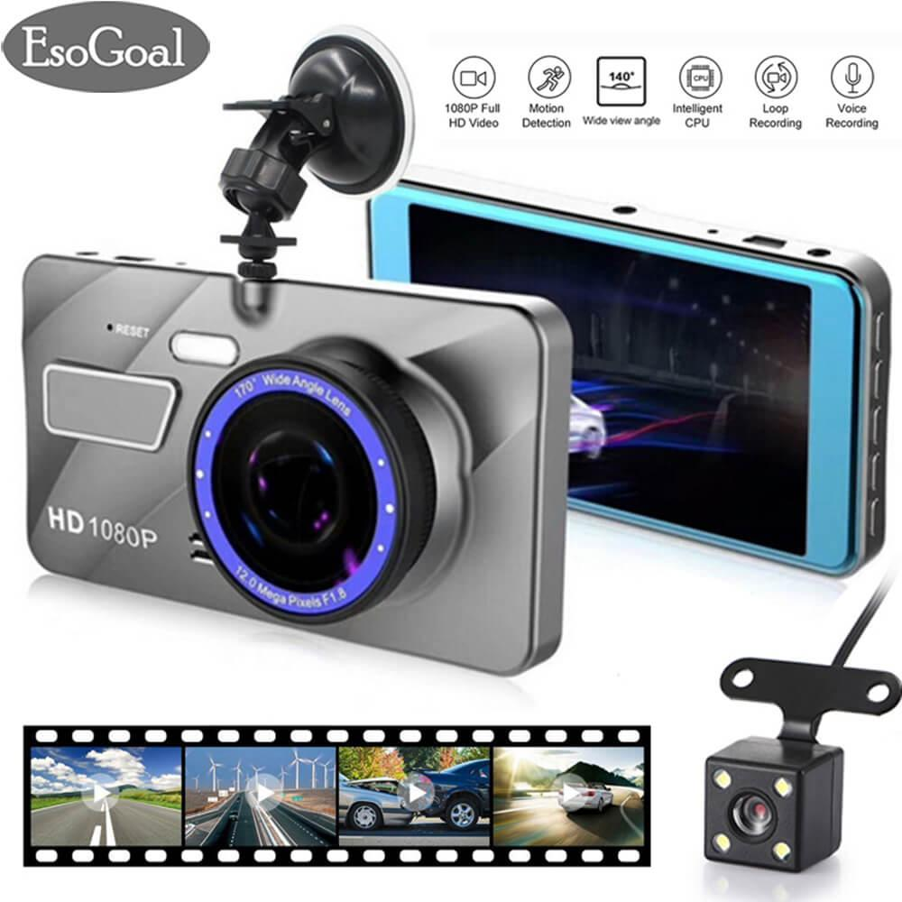 Esogoal Dual Lens Dash Cam Car Camera Recorder Full Hd 1080P Front 720P Rear Lens Super Wide Angle Car Dvr Dashboard Camera With 4 Screen Tiongkok