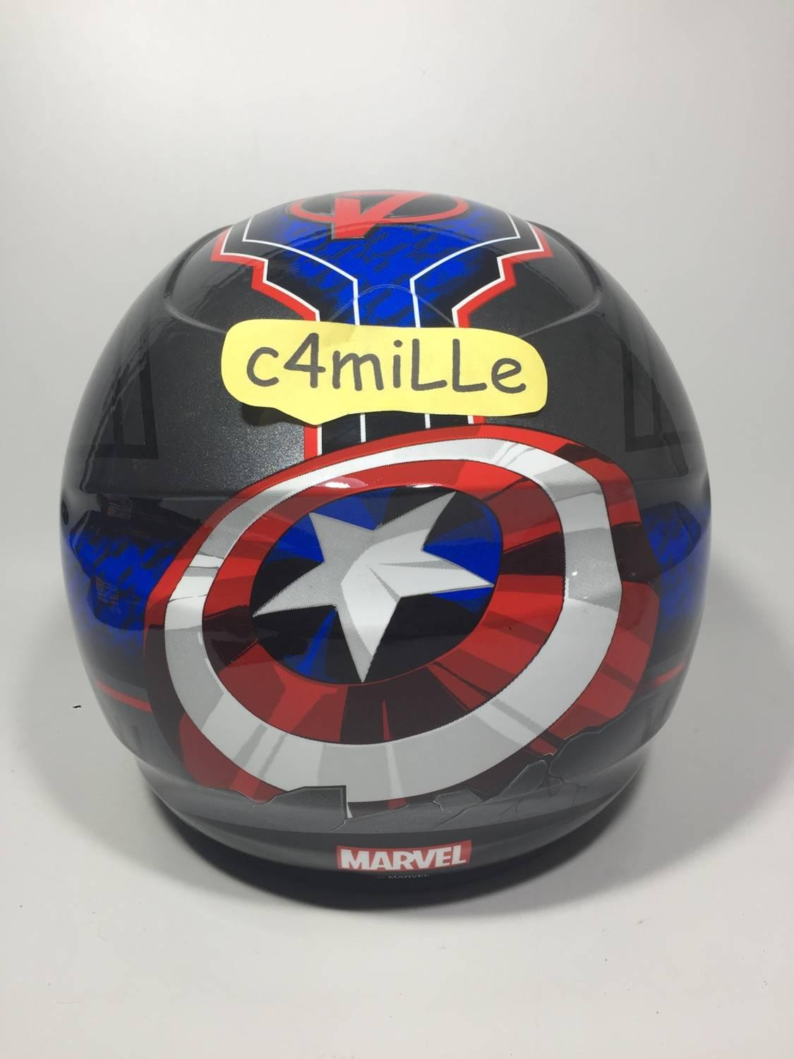 HELM BMC MILAN AVENGER CAPTAIN AMERICA #02 GRAPHIC METALIC HALF FACE