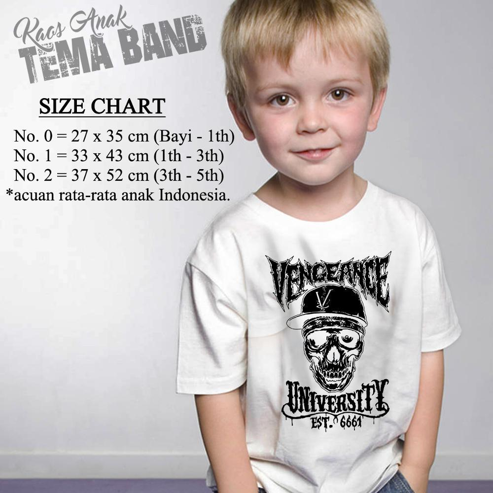 Kaos Anak Tema Band Avenged Sevenfold Desain Vengeance University Putih