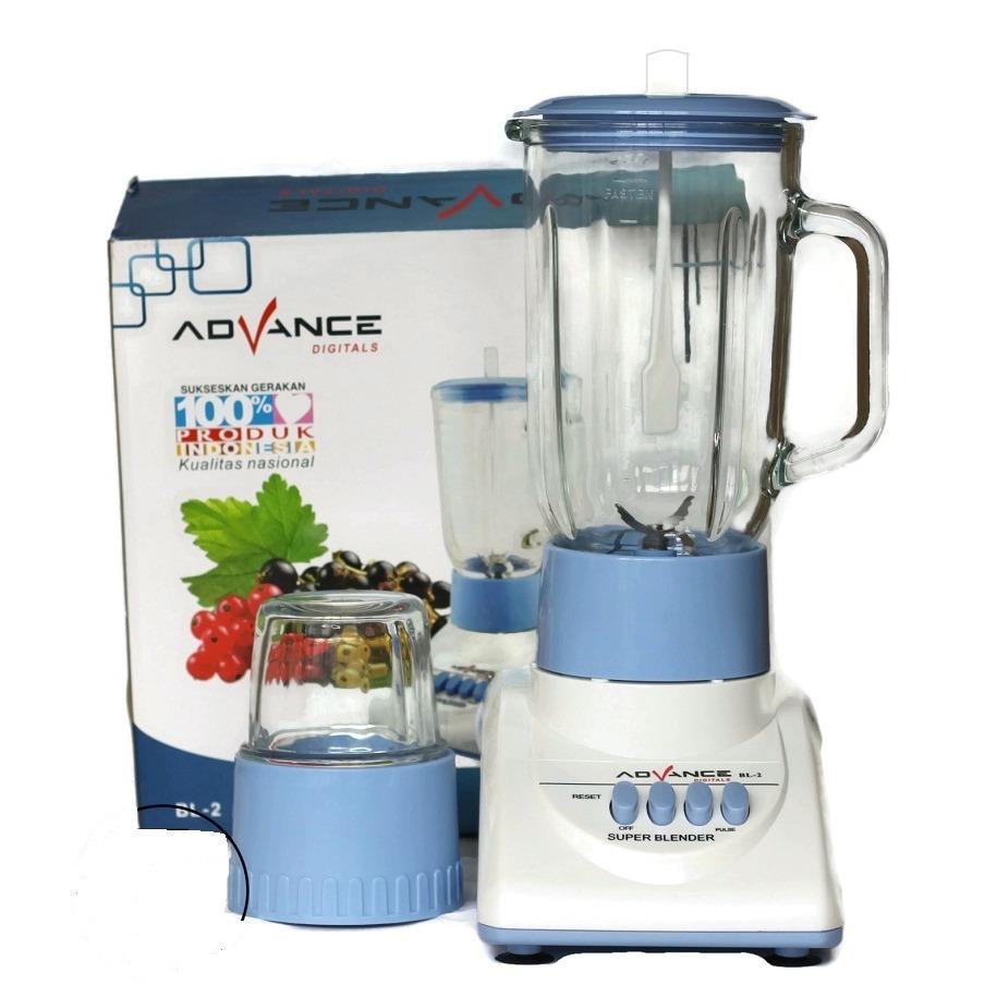Advance Blender BL-2 Bahan Kaca Low Watt with Grinder - Biru Putih